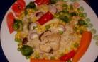 Csirke rizottó zöldségekkel kép