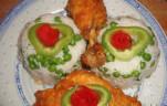 Csirkecomb és mell kókusz bundában