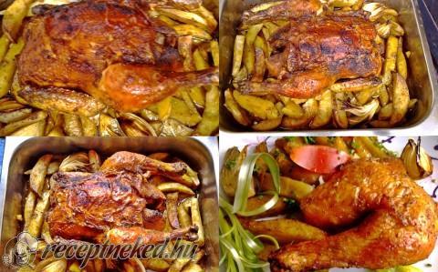 Chilis, borsos csirke egészben sütve