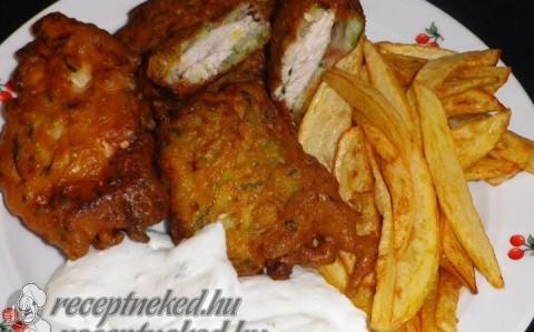 Cukkinis lapcsánkában sült csirkemell