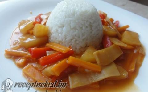 Édes – savanyú mártás párolt rizzsel