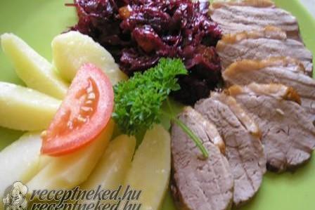 Sült libamellfilé, fényezett zöldségekkel
