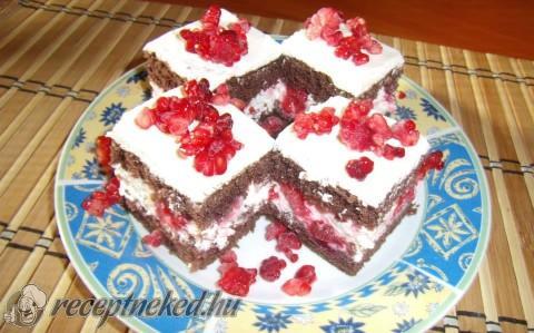 Meggyes, málnás, joghurtos süti