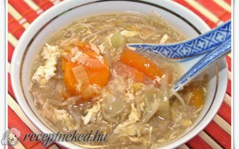 Csípős-savanyú leves csirkemell csíkokkal