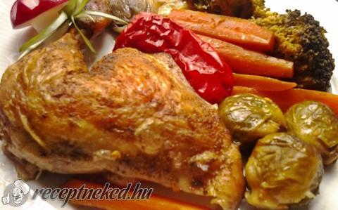 Zöldségágyon sütött csirke