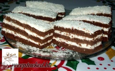 Kókuszos krémes, kakaós sütemény