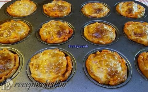 Sonkás muffin leveles tésztából