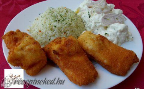 Rántott süllő szeletek rizzsel,majonézes krumplisalátával