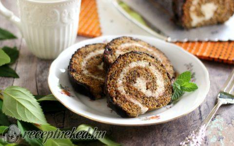 Kókuszkrémes-mákos sütőtöktekercs