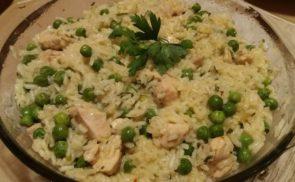 Zöldborsós rizseshús