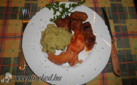 Fügés csirke brokkolis krumplipürével
