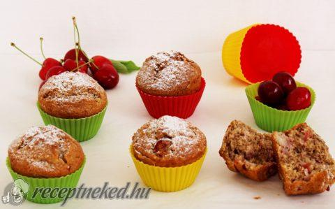 Cseresznyés-diós muffin