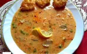 Zöldséges, tárkonyos csirkeragu leves