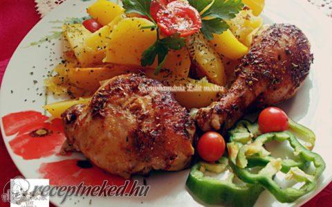 Burgonyaágyon sült, fűszeres csirkecomb