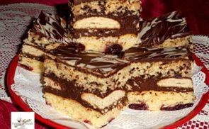 Rumos meggyes, csokis krémes szelet