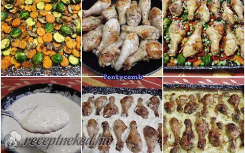 Sajtszószos csirkecombok zöldségágyon